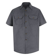 Red Kap Adult Heathered Poplin Short Sleeve Work Shirt