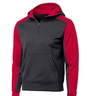 Sport-Tek® Men's Colorblock Tech Fleece 1/4-Zip Hooded Sweatshirt