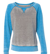 J. America Ladies' Zen Fleece Raglan Sleeve Crewneck Sweatshirt