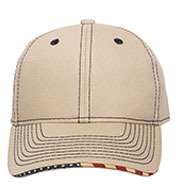 Outdoor Cap Contrast Stitch Cap with American Flag Sandwich