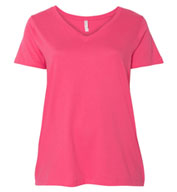 LAT Ladies Curvy Collection V-Neck Tee