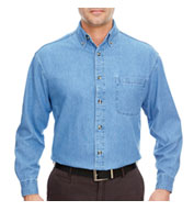 UltraClub Men's Long Sleeve Denim Shirt