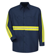 Red Kap Men's Enhanced Visibility L/S Industrial Work Shirt