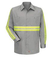 Red Kap Men's Enhanced Visibility L/S Cotton Work Shirt